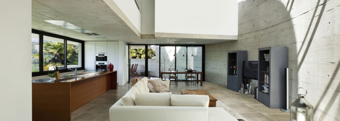 beautiful modern house in cement, interior, living room